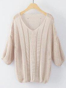 Khaki V Neck Elastic Cuff Knitwear