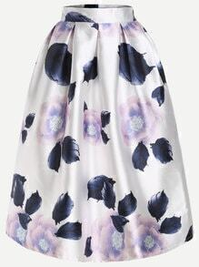 Floral Print Flare Skirt With Zipper