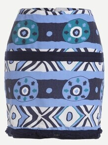 Graphic Print Woven Tape Bodycon Skirt