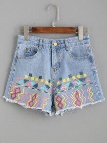 Blue Print Raw Hem Denim Shorts