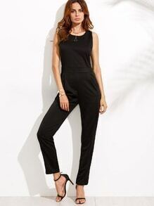 Black Keyhole Back Sleeveless Jumpsuit