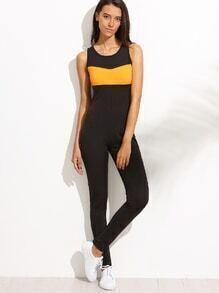 Black Colorblock Cut Out Back Jumpsuit
