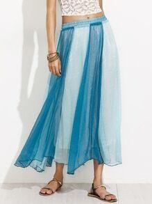 Blue Green Colorblock Elastic Waist Pleated Skirt