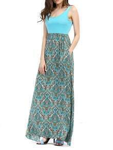Scoop Neck Paisley Print Maxi Dress