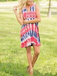 Tie-dye Cut Out Shift Dress