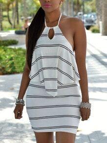 Halter Striped Backless Bodycon Dress
