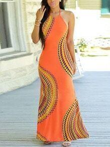 Halter Print Cut Out Back Split Side Dress