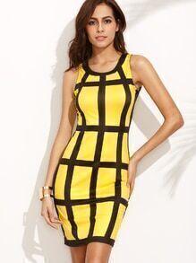 Contrast Plaid Pencil Dress