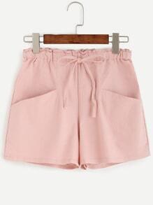 Pink Drawstring Pockets Shorts