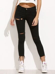 Black Ripped Frayed Denim Pants