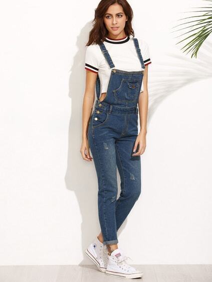 Dark Blue Straps Scratch Denim Overall Pants