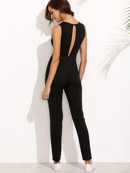 Black Sleeveless Keyhole Back Jumpsuit