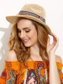 Beige Vacation Pom Pom Embroidered Ribbon Wide Brimmed Straw Hat