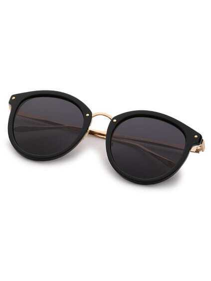 Black Retro Reflective Cat Eye Sunglasses