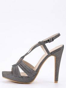 Faux Suede Cutout Crisscross Sandals - gun color
