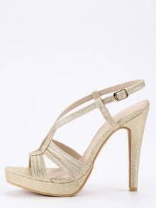 Faux Leather Cutout Crisscross Sandals - Light Gold