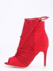 Laser-Cut Lace-Up Peep Toe Heels - Red