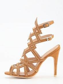 Faux Suede Caged Studded Sandals - Camel