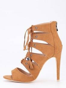 Faux Suede Lace-Up Peep Toe Heels - Camel