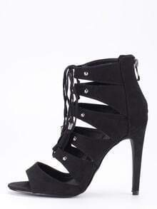 Faux Suede Lace-Up Peep Toe Heels - Black