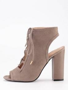 Faux Suede Lace-Up Peep Toe Sling Back Heels - Brown