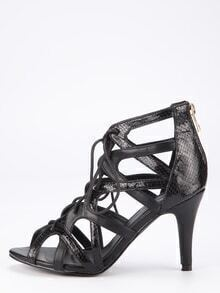 Faux Suede Caged Lace-Up Heeled Sandals - Black