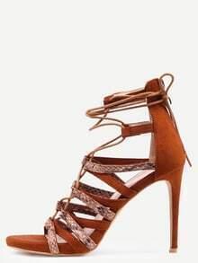 Snake Embossed Lace-Up Heeled Sandals - Camel