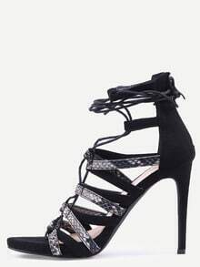 Snake Embossed Lace-Up Heeled Sandals - Black