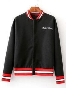 Black Crew Neck Embroidery Zipper Jacket