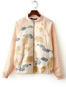 Apricot Elastic Cuff Printed Zipper Jacket