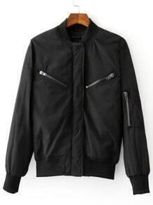 Black Rib-knit Cuff Zipper Jacket