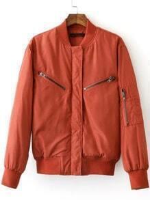 Red Crew Neck Rib-knit Cuff Zipper Jacket