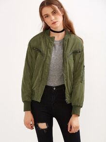 Green Rib-knit Cuff Zipper Jacket