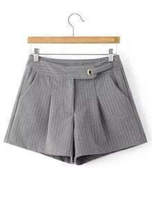 Grey Stripe Zipper Fly Pocket Shorts