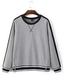 Grey Stripe Trim Zipper Sweatshirt