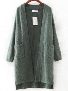 Green Pocket High Low Cardigan