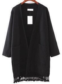 Black Pocket Tassel Cardigan