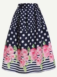 Navy Polka Dot and Rose Print Box Pleated Midi Skirt