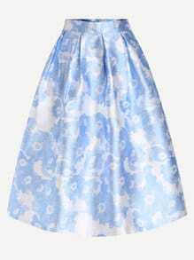 Blue Flower Print Box Pleated Midi Skirt