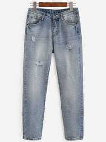 Blue Distressed Bleached Wash Jeans