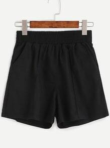 Black Elastic Waist Shorts With Pockets
