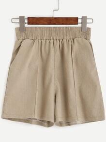 Khaki Elastic Waist Shorts With Pockets