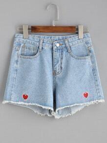 Blue Heart Embroidered Frayed Denim Shorts