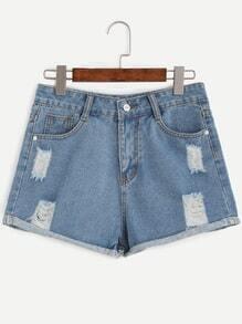 Blue Ripped Roll Hem Denim Shorts