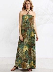 Beaded Halter Tropical Print Shirred Beach Dress