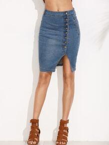 Blue Asymmetric Button Front Slit Pencil Denim Skirt
