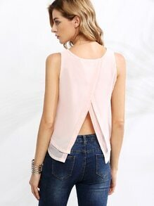 Pink Split Back Layered Sleeveless Top
