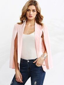 Pink Shawl Collar Cape Sleeve Blazer