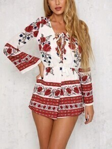 Red Flower Print Lace Up Romper