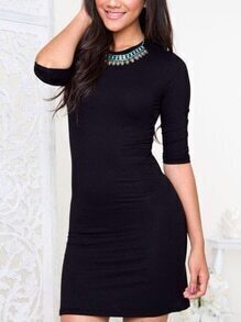 Black 3/4 Length Sleeve Sheath Dress